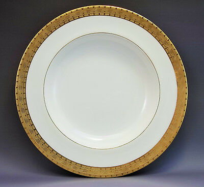 Mintons Cadwell & Co Low Soup Bowls (s) Gold Encrusted England Serving