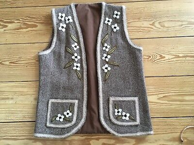 Vintage Brown & Cream Hand Embroidered Hand Sewn Wool Vest Size Sm/Med EUC