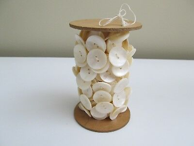 Large Lot Spool Of Two-Hole Pearl Shell Buttons