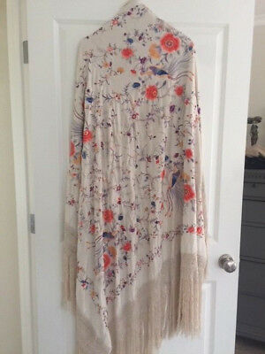 Antique Silk Piano Shawl Embroidered Peacocks Flower Long Fringe Scarf rebozo