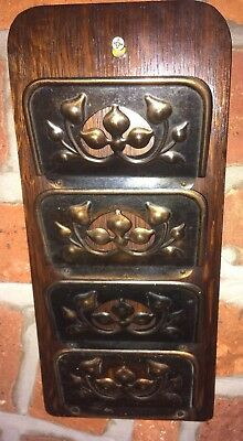 Arts & Crafts Letter Holder/Rack 4 Copper Pockets on Wood Wall Hanging