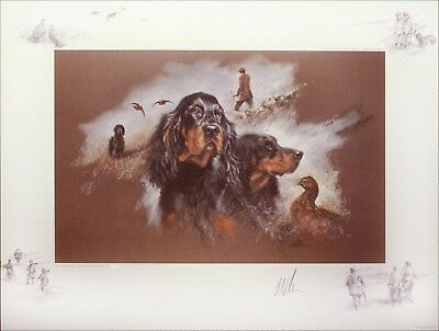 GORDON SETTER DOG RARE LIMITED EDITION PRINT by the late Mick Cawston