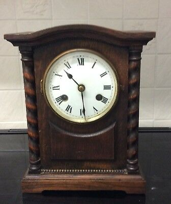 A Oak Cased Mantle Clock With Barley Twists++Working Order ++