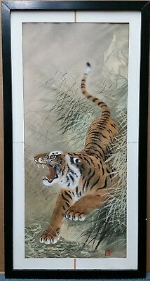 Lg Tiger Silk Painting Chinese Korean Japanese Vintage Antique Signed Stamped