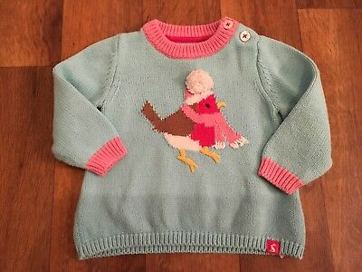 Joules Baby Girls Knitted Robin Jumper 6-9 Months