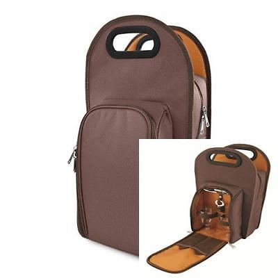 True Fabrications 2427 Brown Metropolitan Tote and Picnic Set with 2-Wine...