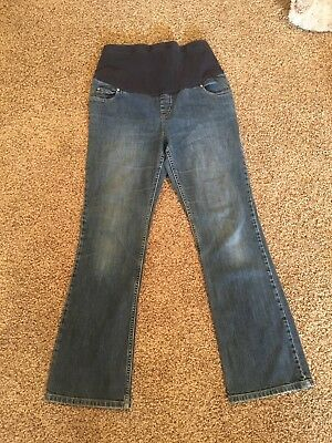 Liz Lange Maternity Blue Jeans Size 10 Full Belly Panel Spandex 29 Inseam A14