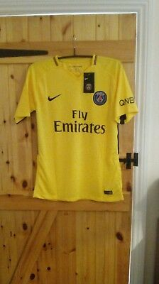 Paris Saint Germain Yellow Football Shirt By Nike Size L - Neymar  - 17/18  Bnwt