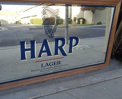 Large HARP LAGER BEER SIGN MIRROR