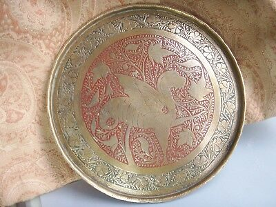 Old Antique Moghul Brass Dragon Tray Red And Black Decorated  c.1900 Fine Plaque