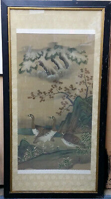 Large Fine Antique Signed Stamped Chinese Qing Geese Landscape Scroll Painting