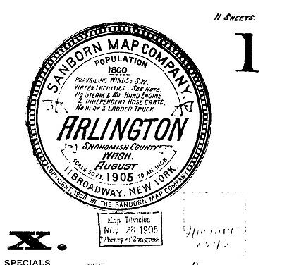 Arlington, Washington~Sanborn Map© sheets made in 1905 with 11 maps  on CD