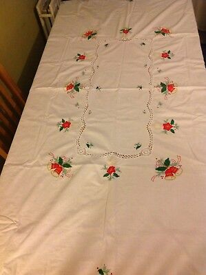 Large Vintage Hand Embroidered Festive Christmas Tablecloth