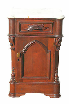 Victorian Marble Top Half Commode Nightstand