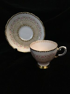Vintage Tuscan Fine Bone China England Cup & Saucer Pink and Gold Floral