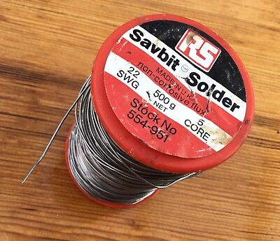 RS Savbit 22swg (0.7mm) 5 Core Fluxed Solder Ref. 554-951 Used, Weighs 438gms