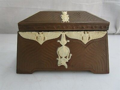 Antique Egyptian Revival Art Deco Bronze Chest Metal Desk Box Vintage