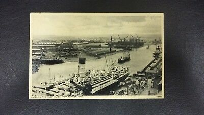 Vintage Scottish postcard Glasgow The River Clyde from Princes Dock posted 1955