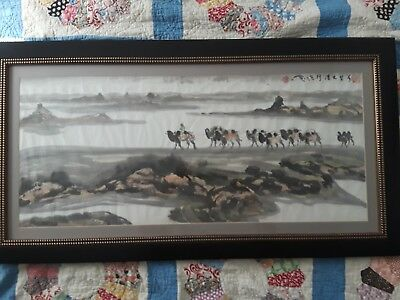 Chinese early 20th century water color Silk Road Caravan Camels