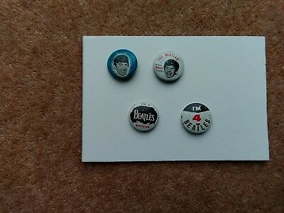 4 Original Vintage 1964 Beatles Pin Badges Green Duck Co' USA