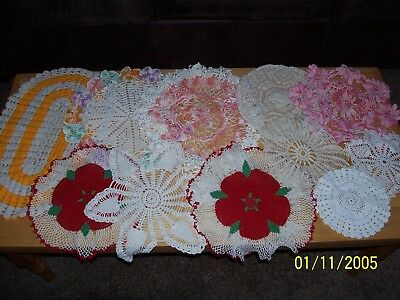 VTG  lot of 11 Hand Crocheted Doilies Variety of Colors/Styles/Sizes