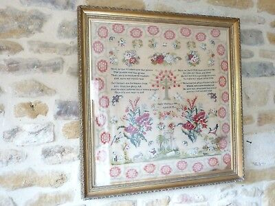 Large 19th Century Victorian Sampler Embroidery Tapestry Antique Red Needlework