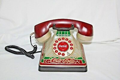 Vintage Coca Cola Stained Glass Look Telephone by Polyconcepts