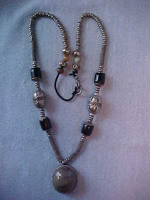 Afghanistan Jasper Gemstone Necklace with Handmade Beads, very old