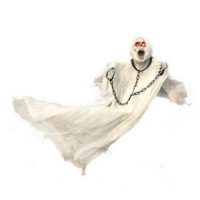 Halloween Hanging ghost LED Light up eyes sound  and sensor 90cm tall