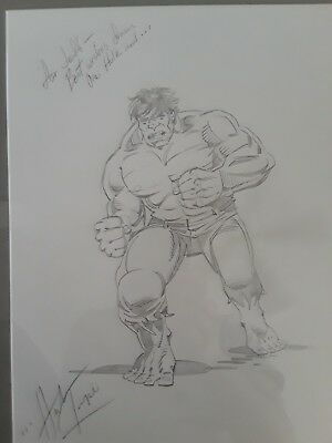 Original Pencil Drawing, the Hulk, by Herb Trimpe, signed.