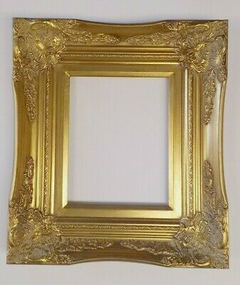 """Picture Frame- 8x10"""" Ornate- Baroque Gold Color- Wood/Gesso- GLASS 6996G"""