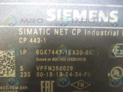 Siemens Simatic Net Cp443 6Gk7443-1Ex30-0Xe0 Communication Processor  *used*
