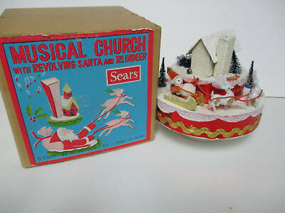 Musical Church from Sears with Santa and sleigh Christmas Japan BOX Vintage 60's