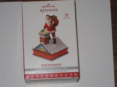 "2017 Hallmark Keepsake Ornament ""Up On The Housetop"" Magic Cord & Light & Sound"