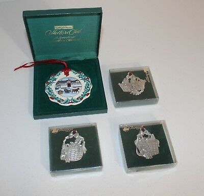 Lot of 4 Longaberger Ornaments 1993-1999, Pewter, Collectors Club