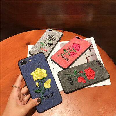 For iPhone X XR Max 8 7 6 Plus Slim Fit Case Retro Rose Flower Protective Covers