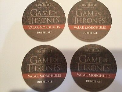 Four Game Of Thrones-Valar Morghulis-Dubbel Ale Coasters-Ommegang Brewery