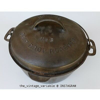 Vintage Wagner Ware No. 8 Drip Drop Cast Iron Roaster