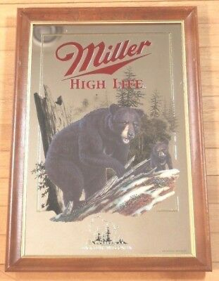 Miller High Life Mirror The Black Bear 4th in the Wildlife Series Vintage 1991