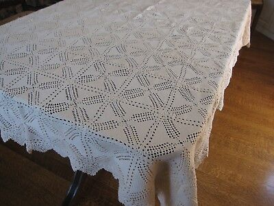 Vintage Tablecloth Hand Crochet Beige ecru Large 61 X 94 Inches Rectangle Lace