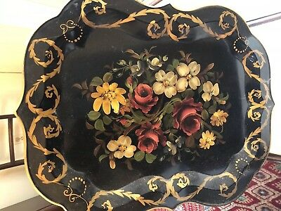 Vintage Large Toleware Tray with hand painted flowers, measures 23 1/2X19 inches