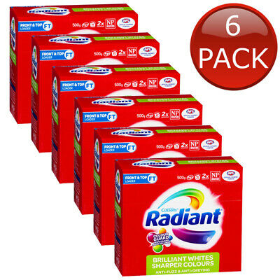 6 x RADIANT BRILLIANT WHITES SHARPER COLOURS LAUNDRY POWDER WASHING CLOTHES 500g