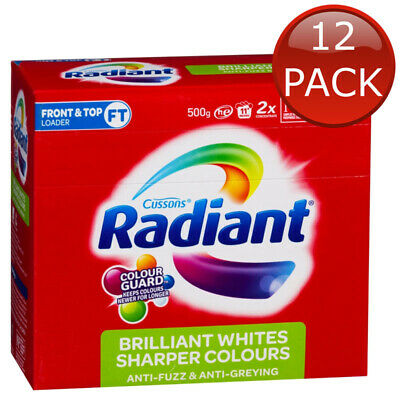 12 x RADIANT BRILLIANT WHITES SHARPER COLOURS LAUNDRY POWDER 500g WASHING CLOTHE
