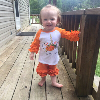 Toddler Baby Girl Shirt Halloween Long Sleeve Print Ruffle T-Shirt On Clothes
