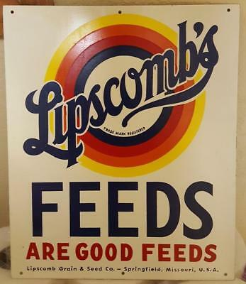 NEAR MINT 1950s Vintage LIPSCOMB'S FEEDS Old Springfield MO Tin Sign Farm Sign