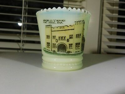 Vintage Souvenir Custard Glass Toothpick Holder Fort Dodge Iowa