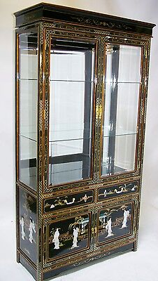 Oriental Furniture Curio Cabinet 40 Chinese China Black Lacquer