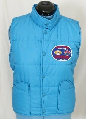 Amoco Gas Station Patch Vintage Snaps Blue Winter Quilted Puffer Vest Men's M
