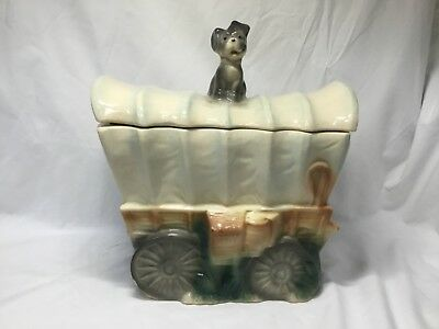 Vintage Brush COVERED WAGON Cookie Jar - W-30 - Gray Dog on Top - 1962