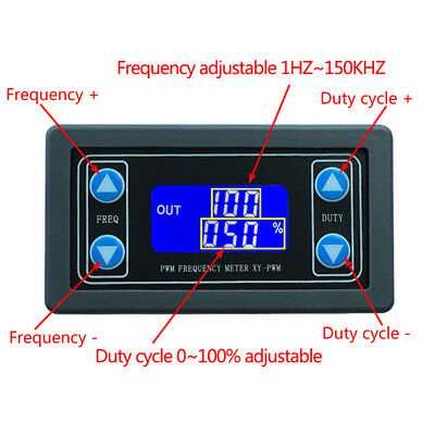 Signal Generator 150KHz PWM Pulse Frequency Duty Cycle Adjustable LCD Module